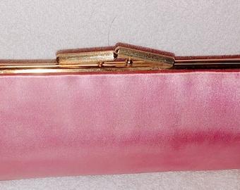 Pink satin vintage clutch with strap