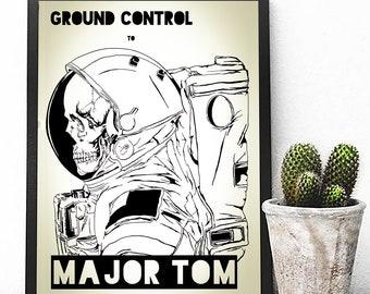 David Bowie Poster Print David Bowie Song Lyrics Poster Print Astronaut Poster Ground Control to Major Tom Poster Inspirational Poster David Bowie Poster Inspirational Wall Art