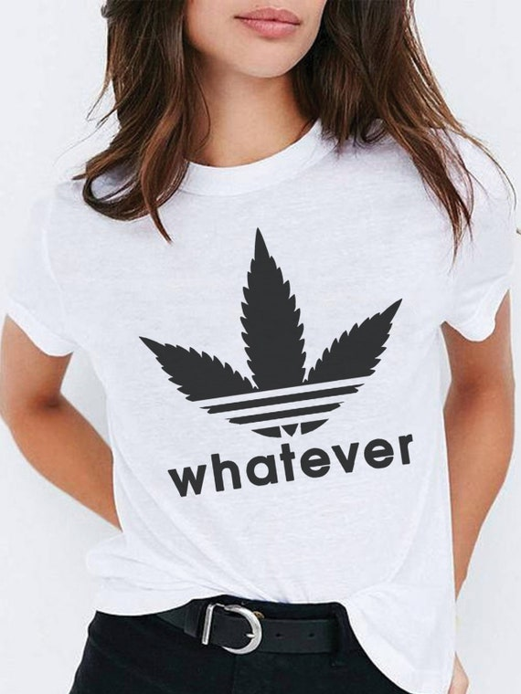 Womens Whatever Weed Leaf Sweatshirt | Adidas Parody Logo Sweatshirt