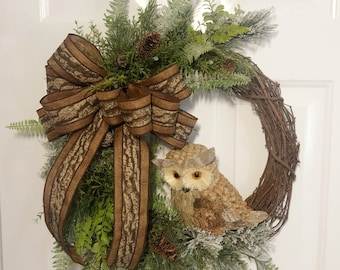 Winter Wreath, Owl Wreath, Front Door Wreath, Owl Decorations, Wreaths with Owls, Holiday Wreath, Winter Owl Decor, Woodland Wreath
