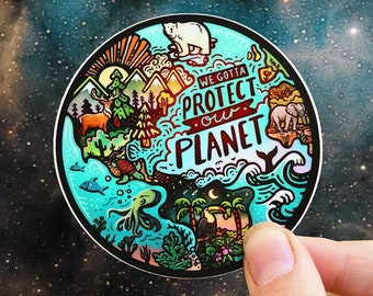 """PROTECT OUR PLANET // Weatherproof Outdoor Sticker // Vinyl 3""""- Animals, Globe, Waves & Nature"""