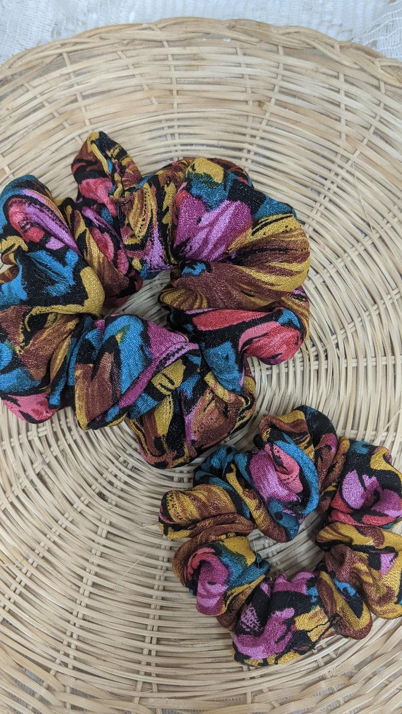 Mini or Regular Retro Floral Hair Scrunchie