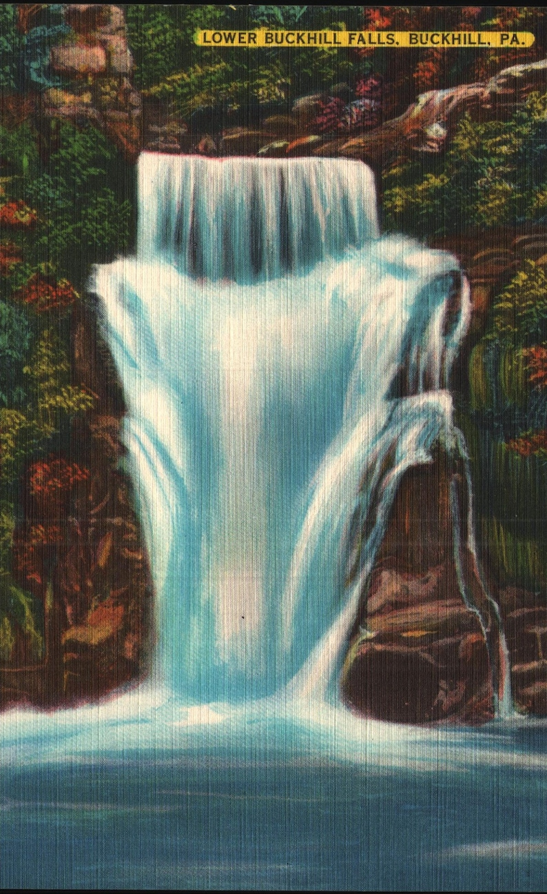 Vintage Linen Postcard Lower Buckhill Falls Buckhill Pennsylvania 1940s