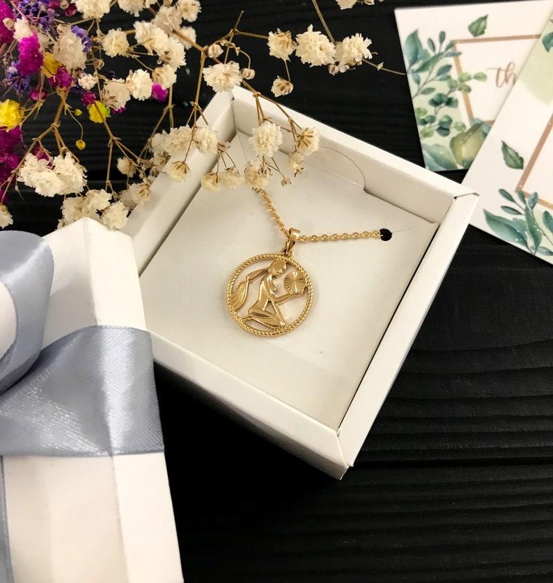 Virgo necklace Zodiac necklace Astrology necklace Horoscope necklace Gold zodiac Virgo zodiac Coin necklace Zodiac jewelry Zodiac gift