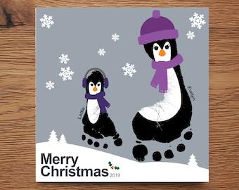 Penguin Christmas Cards Footprint.Footprint Penguins Etsy