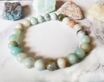 Amazonite Bracelet 8 mm Amazonite Stone Bracelet Healing Crystal Jewelry Heart Chakra Stone Throat Chakra Stone Amazonite Jewelry
