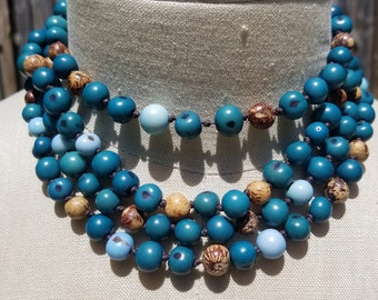 Four Strand Multi-Color Tagua Nut Necklace Fair Trade Jewelry Tagua Nut Jewelry Vegan Jewelry Eco Friendly Jewelry Colombian Tagua