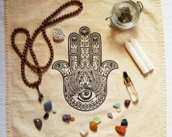 Hamsa Meditation Cloth Hand of Fatima Altar Cloth Evil Eye Sacred Space Large 20 x 20 Altar Accessory Tarot Cloth