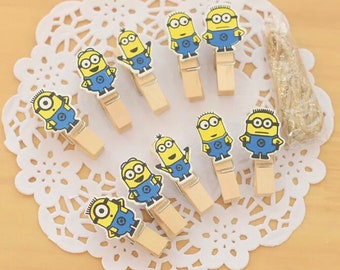 Cute minion wooden pegs picture hanger Kawaii novelty pen kids love stationery