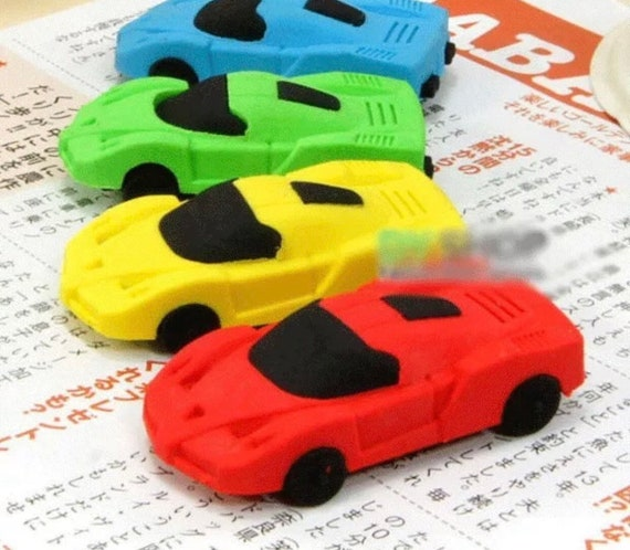 4pcs Kids Novelty Removable Classic Car Erasers Rubbers Gift Toy Party Bag Gift