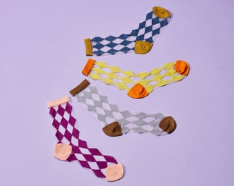 Honey Dijon Creator Collab - Dynomite Argyle Sheer Crew Sock | 4 Colors Available