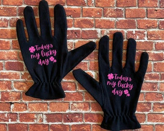 Casino Gloves/Today's My Lucky Day Manner Mitts/Slot Machine Gloves/Poker Gloves
