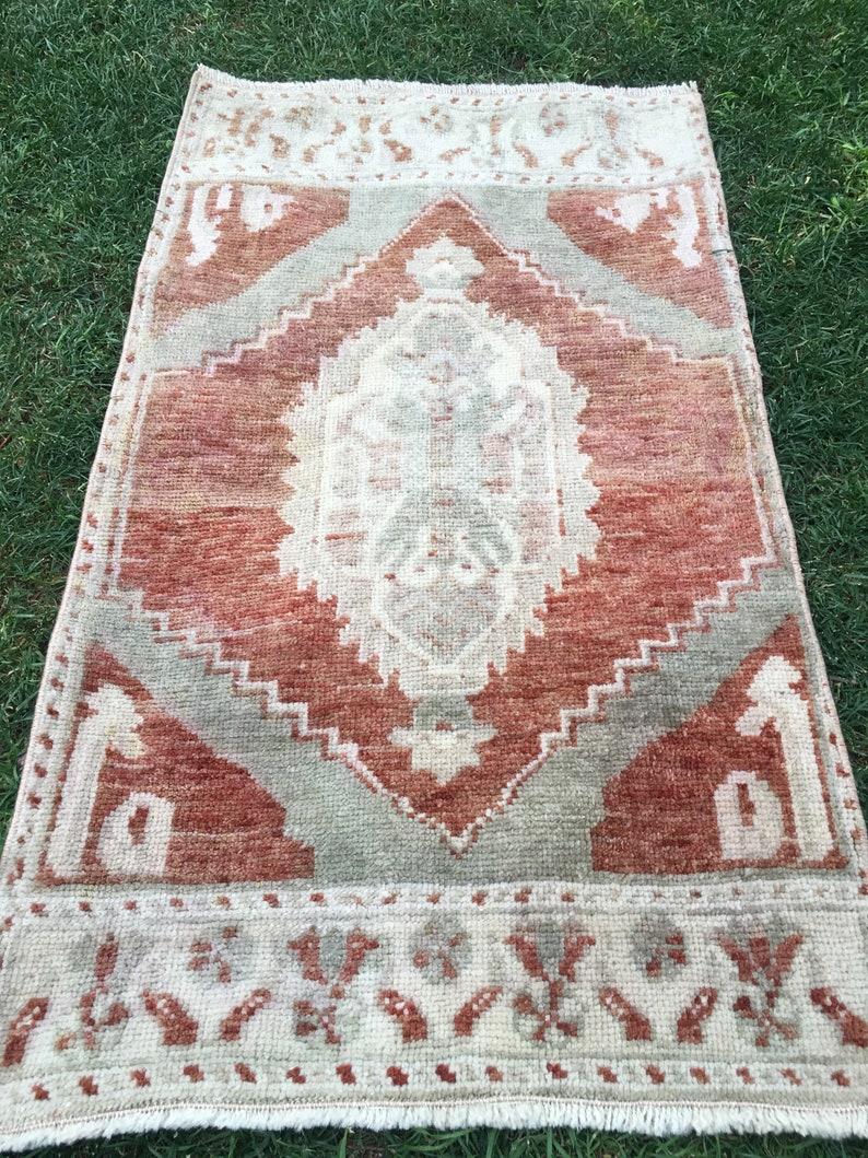 Decor Floor Decor Rug Mini Rugs Antique Small Rug Cotton Rug.1\u20199\u201dx3\u201d.Oushak rug Bohemian Area Rug Interior Design Rug