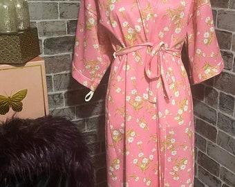 Lady Olga Ladies Long Sleeve Pink or Blue Floral Dressing Gown Robe Wrap 10-32