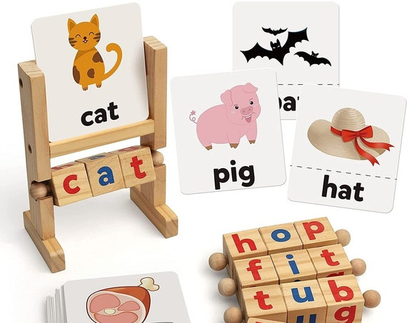 Montessori Wooden Reading Blocks with Flashcards, reading for kids, reading flashcards, reading resource for classroom and homeschool