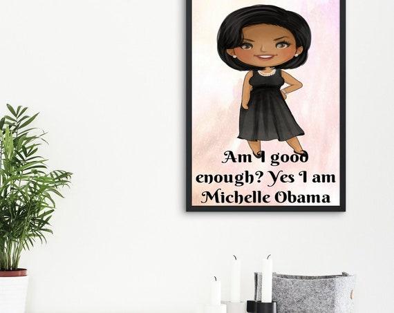 Michelle Obama Nursery Wall Art, Influential Women Wall Art. Women in History Decor, kids room prints,  girls room prints, feminism decor