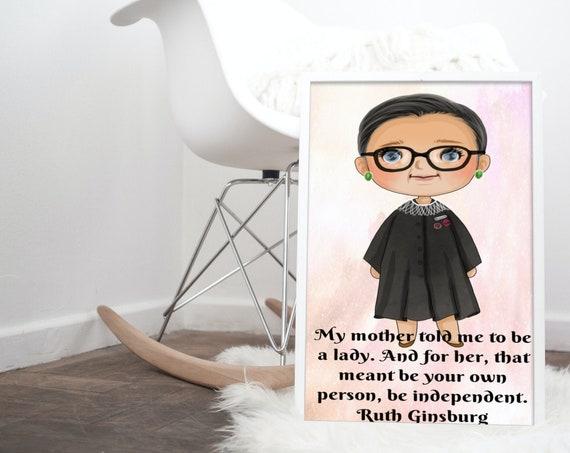 Ruth Ginsburg Digital Print, women empowerment print, nursery print, influential women in history poster, feminism digital download