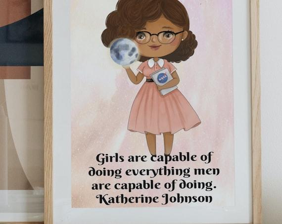 Influential Women Nursery Prints,  Katherine Johnson wall art, little girl wall art, play room decor, feminism art, classrom art