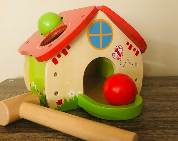 Wooden Colorful Hammering House Toy