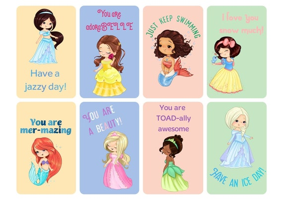 Cute Princess Lunch Notes for Girls,  mermaid lunch notes, funny lunch notes, positive lunch notes for kids