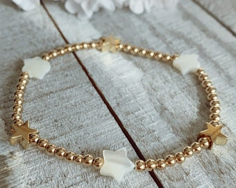 Gold Filled Beaded Bracelet with Freshwater Pearl Star
