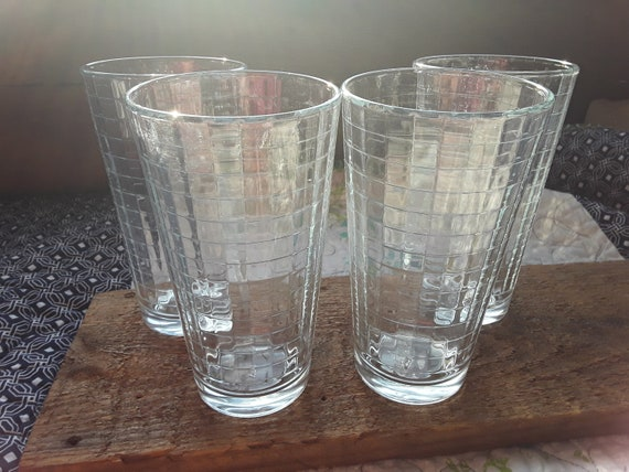 Pasabahce Block Optic CLEAR Tumblers Artisan Glassware Set of 6 Highball Glasses