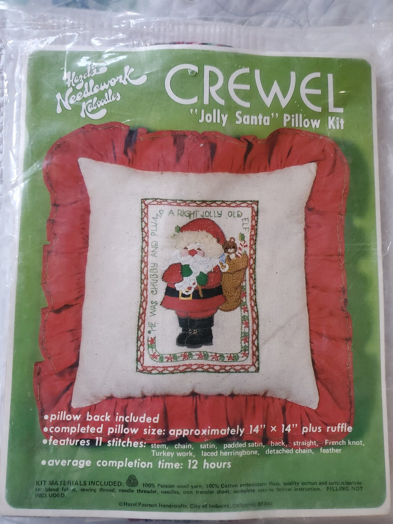 Crewel Jolly Santa.Pillow kitmakes approximately 14 by 14 image 0