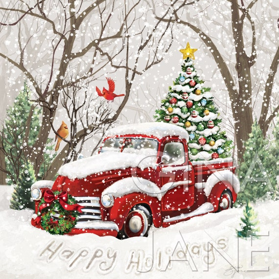 Vintage Diy Craft Decor Red Truck Christmas Tree Happy Etsy