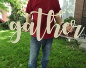 Large Gather Wooden Sign Wooden Word Cut Wooden Laser Cut Gather Word Cut Out Wooden Laser Cut Letters Large Gather Sign
