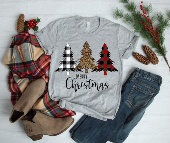 Merry Christmas with Cheetah and Buffalo check trees