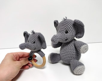 Elephant RATTLE baby shower gift set. First birthday gift boy. Gender neutral gift basket. Baby boy gift box. Unique baby girl gifts.