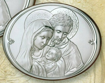 Florentine Holy Family Plaque made of Sterling Silver