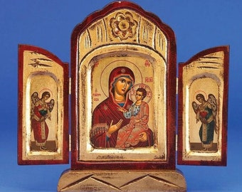 Authentic Greek/Byzantine Icon of the Virgin Mary the Healing Triptych