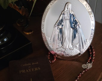 Florence Miraculous Medal Sterling Silver Plaque