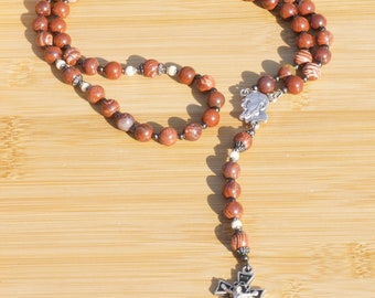Red Jasper and River Stone Rosary