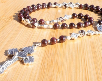 Red Garnet and Sterling Silver Divine Mercy Chaplet