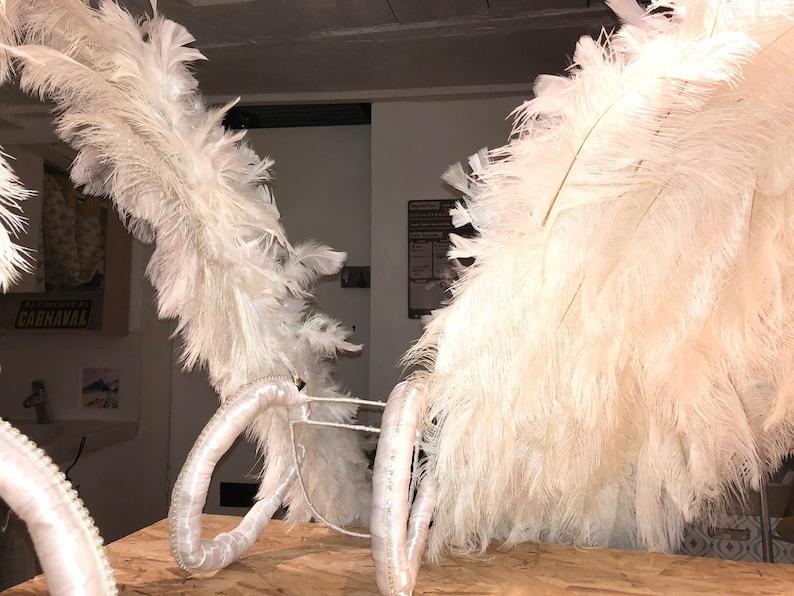 WHITE VIctoria sEcret ANgel WIngs INspiration ostrich BOa RHinestones