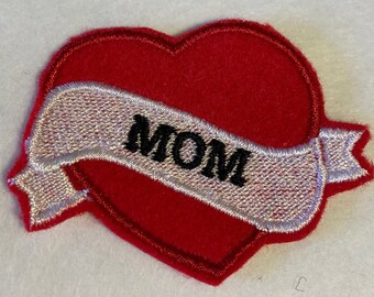 My Moms a Nut Mom Heart Love Embroidered Iron on Patch P6-I