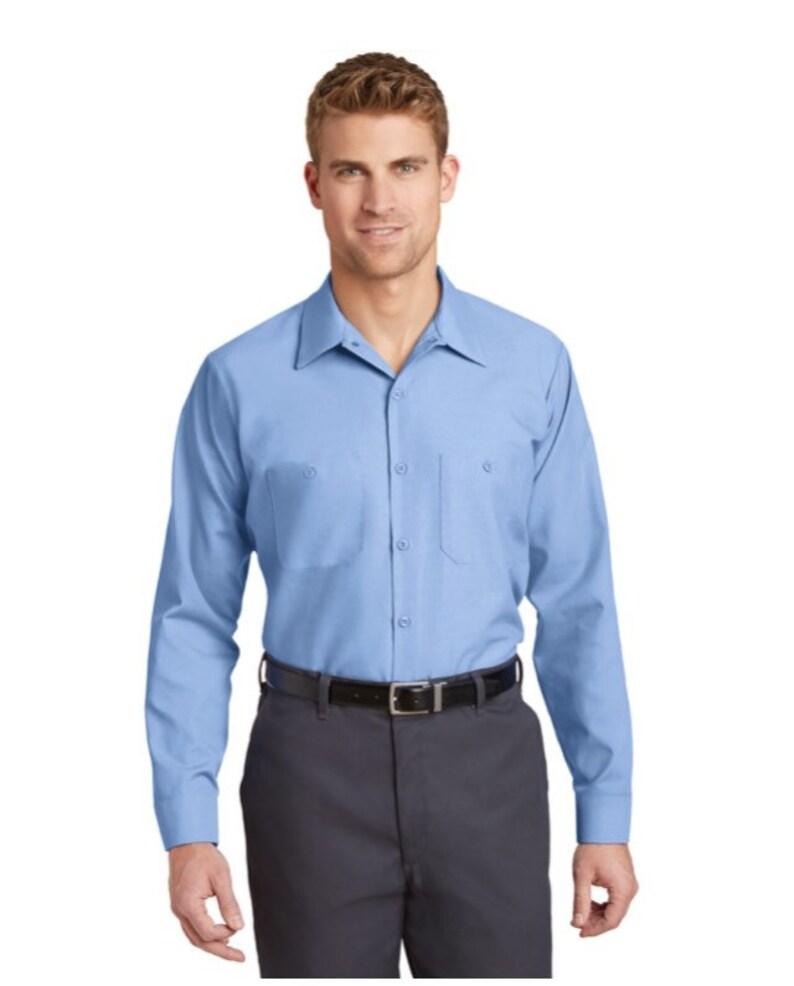 Men\u2019s Work Shirt Custom Embroidery Industrial Uniform Shirts Custom Business Button Up Shirts Custom Logo Embroidered Shirts Long Sleeves