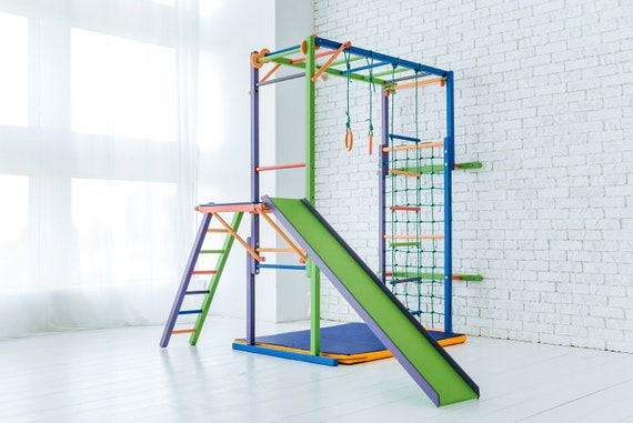 Kids Indoor Jungle Gym With Swing, Slide, Gymnastic Rings, Wooden Playset Climbing Ladder for Children, Baby XMAS Gift Foldable Playground