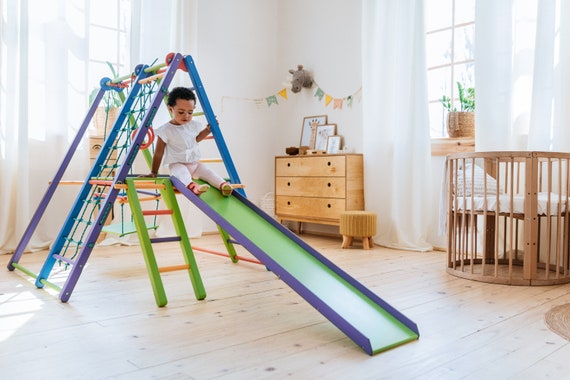 Baby Gym Swing Slide for Toddlers and Children Wooden Jungle Playset Climbing Ladder for Kids Baby Gift Foldable Playground CPSIA certified