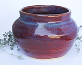 Pottery Wine Red Purple and Blue Glazed Handmade Stoneware Pot, Hand Thrown, Flower Vase Decorative Pottery