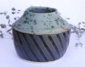 Pottery Dark Teal Matte and Glossy Black Glazed Handmade Stoneware Pot, Hand Thrown, Flower Vase Decorative Pottery