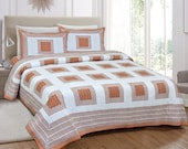 Orange and White Bedsheet, Christmas Gift, Pillow Cover, King Size Flat Sheet, Block Print Bedding, Printed Bed Sheets, Bedspread Cotton