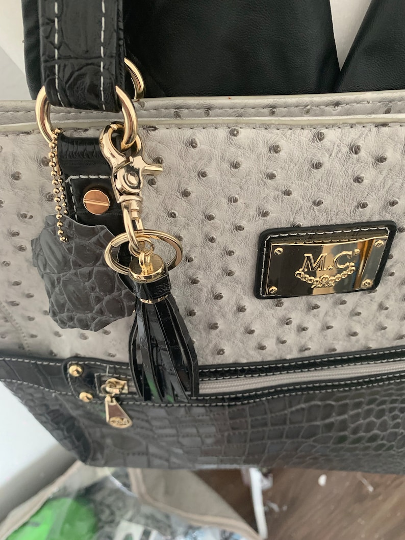 Marc Chantal embossed crocodile and ostrich tote