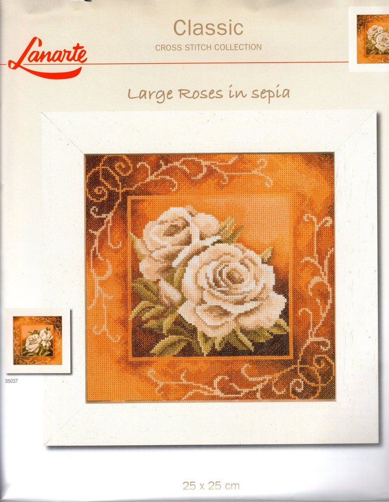 Lanarte Cross Stitch Kit Large Roses in Sepia 25 X 25 CM Classic Collection