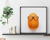"Funny vegetable print ""Mr. Pumpkin"" - Printable kitchen and home decor- Perfect gift for food lovers - Poster Up to 30x30 cm"