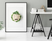 "Funny vegetable print ""Herr Blumenkohl"" - Printable kitchen and home decor- Perfect gift for food lovers - Poster Up to 30x30 cm"