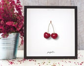 "Valentine's Day card | Printable poster ""Perfect Half - Cherries"" 
