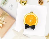 "Printable Christmas Card ""Tanti Agrumi"" Orange - Instant Download - Simple Holiday Greetings 12x12cm"
